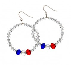 Clear Crystal Hoop Earring with RWB