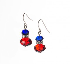 Red,  White & Blue  Crystal  Earrings