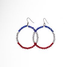 RWB Crystal Hoop Earrings