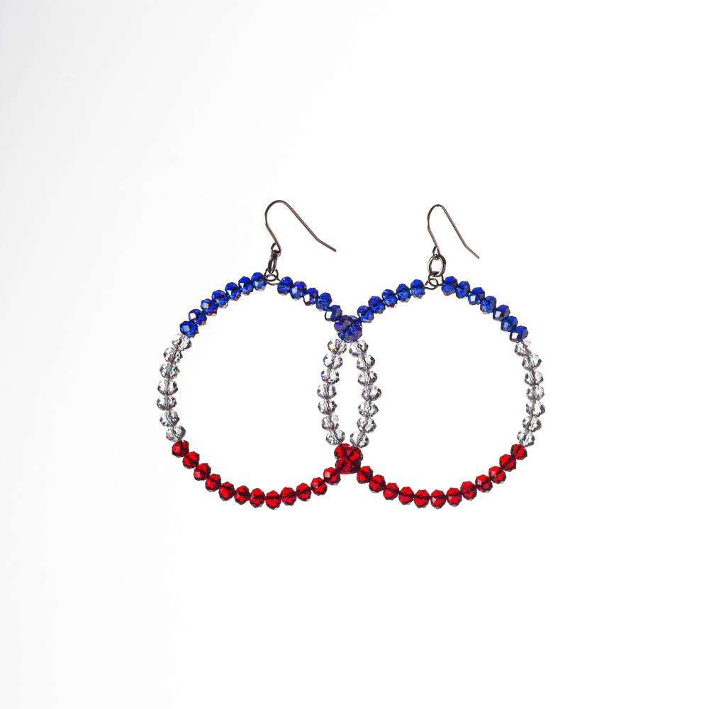 Rwb Crystal Hoop Earrings