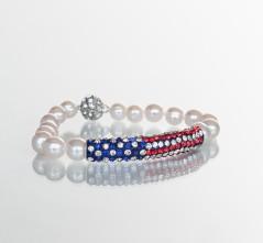 Crystal Flag White Pearl Bracelet