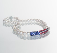 Crystal Flag White Pearl Necklace