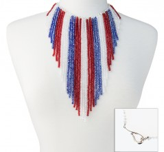 RWB Crystal Fringe Necklace