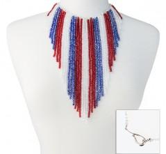 RWB Crystal Fringe Necklace