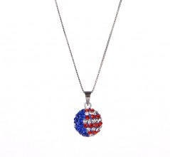 RWB Stars & Stripes Single Pave' Pendant Necklace