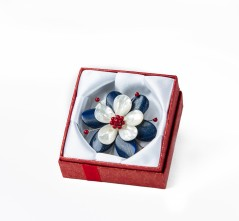 Red, White and Blue Flower Brooch