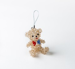 Patriotic Teddy Bear Ornament, Swarovski Handcrafted, Red, White and Blue Bow Tie (2 inches tall)