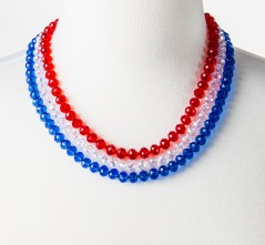 Three-Strand RWB Crystal Necklace