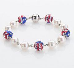 RWB Stars & Stripes Crystal Balls and Pearls