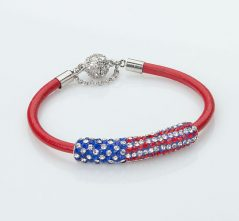 RWB  Crystal Flag on Red Leather Bracelet