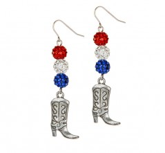 Cowgirl Boots on RWB Pave' Crystal Earrings