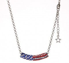 RWB Flag Bar on Silvertone Chain Necklace