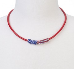 RWB Crystal Flag Bar on Red Leather Cord Necklace