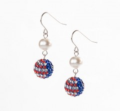 Stars & Stripes Single Pave' & Pearl Earring