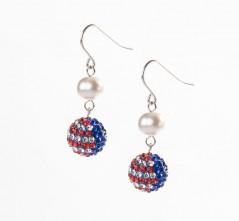 Stars & Stripes Single Pave' & Pearl Earring