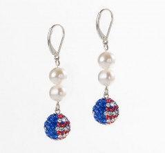 Stars & Stripes Single Pave' Ball with Double Pearl Earrings