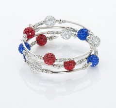 Red, White & Blue Pavé Crystal Wrap Bracelet