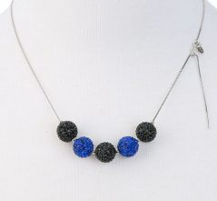 Blue Lives Matter Jewelry 5 Crystal Shamballa Ball Necklace