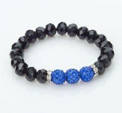 Blue Shamballa Ball & Black Crystal Stretch Bracelet