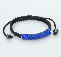 Blue Lives Matter Blue Crystal Bar Bracelet on Black Macrame Cord