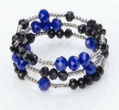 Blue & Black Crystal Wrap Bracelet