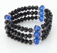 3 Strand Blue & Black Crystal Stretch Bracelet