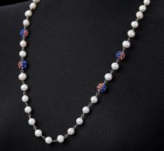 Freshwater Pearl with Stars & Stripes Crystal Ball Necklace