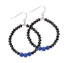 Blue Lives Matter Jewelry Crystal Hoop Earrings