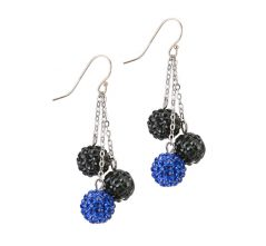 Blue & Black Crystal Shamballa Balls on Chain