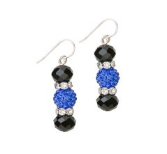 Blue Lives Matter Motif Crystal Drop Earrings